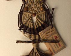 Vintage Handmade Macrame Owl by LoonyLadybug on Etsy
