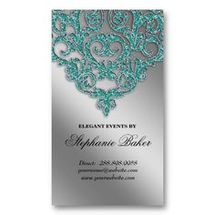 Jewelry designer rustic lotus flower business card pinterest wedding planner jewelry damask salon silver sparkle teal business card templates this is just so elegant stopboris Choice Image