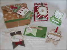Under the Tree Tag a Bag Kit from Stampin' Up! I used these tags on the Take Out Box, a box made with the new Gift Box Punch Board, the Curvy Keepsakes Box and the Gift Card Envelope.  FUN KIT!  www.carriestamps.com #stampinup
