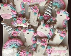 decorated cut out cookies birthday Unicorn Birthday Parties, Unicorn Party, 2nd Birthday, Birthday Ideas, Golf Cookies, Cut Out Cookies, Butter Sugar Cookies, Unicorn Cookies, Iced Biscuits