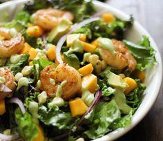 Curry Shrimp Chopped Salad with Creamy Avocado Dressing