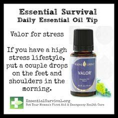 Use Valor blend for stress. For more info and to order go to www.EssentialOilsEnhanceHealth.com