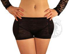 SODACODA Boyshort Foam Padded Hip and Butt Enhancer with Tummy Control Lowrise Lace - Black & Nude (M-XXXL = UK 6-18)