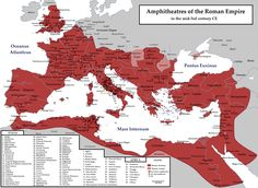 Amphitheatres of the Roman Empire in the mid-3rd century CE.