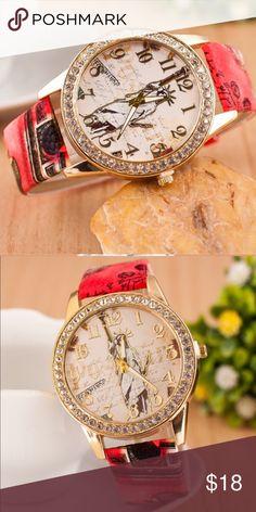 Women watches.... RED.... Geneva Platinum Accessories Watches
