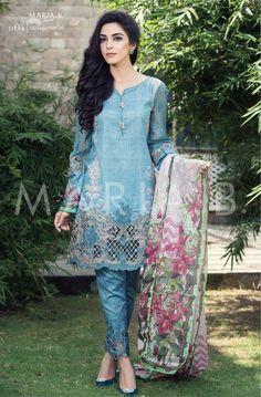 Summer Latest Dresses by Maria B fashion designer, one of the favorite Pakistani Fashion Brand for girls of Pakistan and India. Pakistani Dresses Online, Pakistani Formal Dresses, Eid Dresses, Pakistani Outfits, Casual Dresses, Dresses 2016, Pakistani Clothing, Pakistani Girl, Fashion Dresses