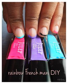 #DIY - Rainbow French Mani featuring Lauren, Anne & Claire by @urdirtylaundry