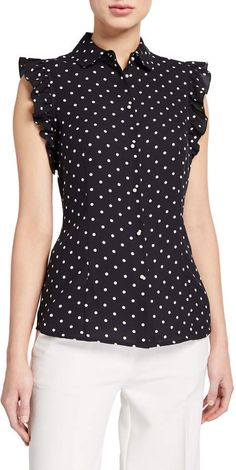 Anne Klein Dot Print Sleeveless Ruffle Button-Front Blouse Source by ShopStyle Anne Klein, Kurta Designs, Blouse Designs, Office Outfits Women, Designs For Dresses, Blouse And Skirt, Fashion Sewing, Trendy Fashion, Fashion Dresses