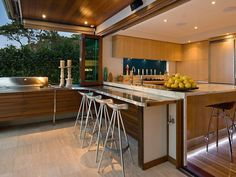 Kitchen can be opened up to outdoor kitchen, with folding window