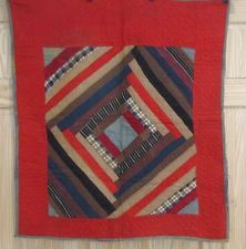 "Ant 1900s Court House Steps Bulls Eye Pennsylvania Crib Quilt Berks County Red, 35 x 32"", eBay, gb-best"