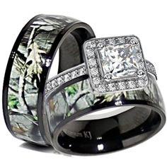 His U0026 Her Black Titanium Camo Sterling Silver Halo Engagement Wedding Ring  Set