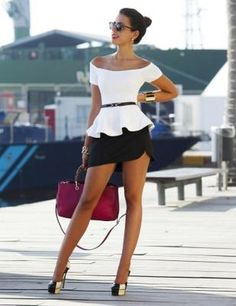 Diy White Peplum Top - Diy Black Skirt by Looks Street Style, Looks Style, Summer Outfits, Casual Outfits, Cool Outfits, Women's Fashion Dresses, Sexy Dresses, Women's Dresses, Style Feminin