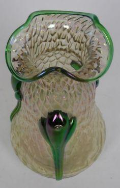 Kralik Bohemian Antique Art Nouveau martele glass vase with applied decoration