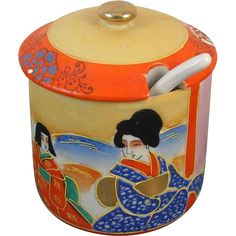 Vintage mid century Japanese Samuri Satsuma covered bowl / spoon / covered dish / ceramic / pottery / Asian / Oriental / Japan / spice / tea
