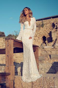 julie vino wedding dresses 2014 bridal long sleeve gown scalloped v neck #WeddingDress #Wedding #Dress