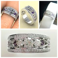 Another beautiful custom ring! It was a special anniversary for one of our great customers. A wonderful combination of CAD digital designing, and hand carving by our Master Jeweler. Notice the hint of Amethyst to represent her birthstone. Custom Jewelry Design, Ring Designs, Birthstones, Hand Carved, Amethyst, Carving, Wedding Rings, Engagement Rings, Jewels