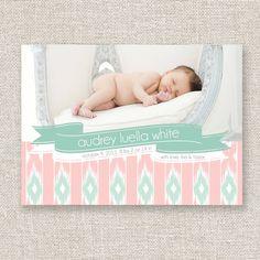 Baby Girl Birth Announcement Ikat Modern Photo Birth Announcement. $14.95, via Etsy.