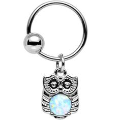 16 Gauge White Synthetic Opal Stainless Steel Wise Owl BCR | Body Candy Body Jewelry
