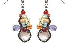Anna Balkan oxidized sterling silver & semi precious multi stone earrings. Available at Good Goods in Saugatuck, MI- goodgoods.com