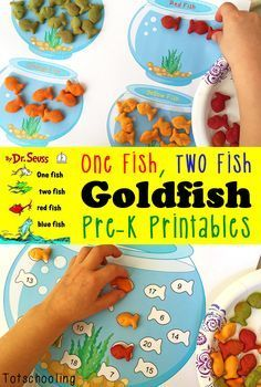 FREE printables to go along with Goldfish crackers and Dr. Seuss' book One Fish, Two Fish, Red Fish, Blue Fish. Perfect for preschool and kindergarten to practice colors, numbers, counting, patterns and color words.