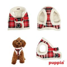 """Puppia """"Uptown II"""" Choke-Free Faux Fur Lined Step-in Vest Harness in Color Red Plaid"""