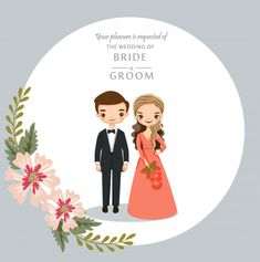 Cute cartoon couple for wedding invitations card Premium Vector Bride And Groom Cartoon, Wedding Couple Cartoon, Cute Couple Cartoon, Cute Cartoon, Cartoon Art, Invitation Card Design, Wedding Invitation Design, Invites, Indian Wedding Invitation Cards