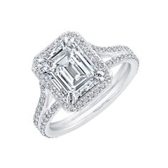 2.40 carat Emerald Cut Diamond Engagement Ring in 18k White Gold