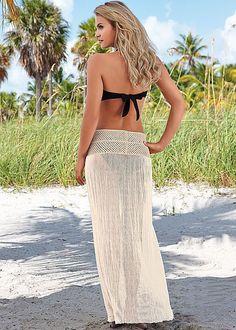 Señoras Verano Sexy Vestido sin tirantes Bikini encubrir envuelva la falda Crochet Beachwear