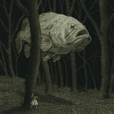 Art lesson on juxtaposition of . Ghost Fish illustration by Chris Odgers Comic Art Art And Illustration, Illustrations, Arte Horror, Horror Art, Arte Peculiar, Arte Obscura, Creepy Art, Fish Art, Surreal Art