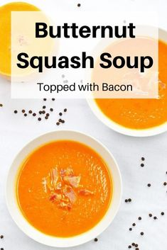 This super smooth and silky butternut squash soup is perfect when you need comfort food. It's a delicious one pot recipe topped with crispy bacon pieces. It's also great for batch cooking and freezing for later too. Hearty Vegetarian Soup, Vegetarian Comfort Food, Vegan Stew, Chilled Soup, Bacon Soup, Butternut Squash Soup, Homemade Soup, Lobster Bisque Soup, Healthy Soup Recipes