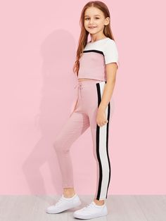 Girls Cut and Sew Top & Drawstring Waist Pants Set -SheIn(Sheinside) Girls Cutting and Sewing Top & Drawstring Pants Set – SheIn (Sheinside) Girls Summer Outfits, Teenage Girl Outfits, Girls Fashion Clothes, Cute Girl Outfits, Tween Fashion, Sporty Outfits, Cute Outfits For Kids, Teen Fashion Outfits, Outfits For Teens