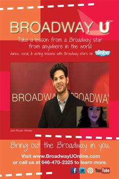 Josh Rouah of GREASE and WICKED can give you vocal or acting lessons today via skype!