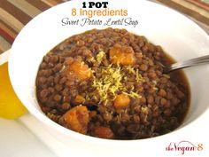 8 Ingredient 1 Pot Sweet Potato Lentil Soup | http://TheVegan8.com | #vegan #glutenfree #oilfree #lentils #sweetpotato #soups