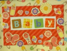 Baby decopauged card and envelope on Etsy, $3.00
