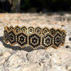 Bracelet anneau noir et doré - collection so chic : Bracelet par ketiko