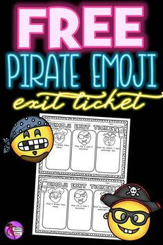 "Looking for a fun and effective way to assess student progress at the end of your lesson? Love pirates? Look no further with this adorable pirate emoji exit ticket! You can get this for free right now by clicking on the ""visit"" button! Free Emoji, School Resources, Teacher Resources, Teacher Pay Teachers, Teaching Ideas, Exit Tickets, Secondary Teacher, New Things To Learn, Time Activities"