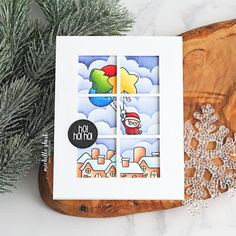 Stamps: Balloon Bunch Christmas / Stencils: Cloudy Day Yellow Balloons, Red Balloon, Christmas Settings, Christmas Cards, Christmas Stencils, Arts And Crafts, Diy Crafts, Christmas Characters, Cloudy Day