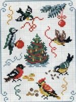 Christmas birds (this gallery is full of nice bird designs - mostly for Christmas) Cross Stitch Christmas Ornaments, Xmas Cross Stitch, Christmas Embroidery, Christmas Cross, Cross Stitch Charts, Cross Stitch Designs, Cross Stitching, Cross Stitch Embroidery, Cross Stitch Patterns