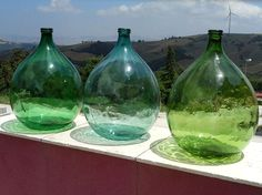 Set of three antique italian demijohns ancient by ItalianHistory