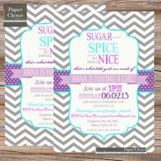 Typography Girls baby shower invitation purple, aqua - digital file, printable file #153 on Etsy, $13.00
