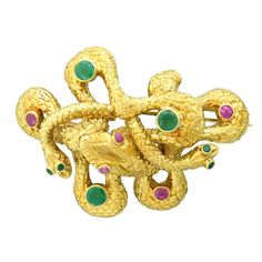 Fabulous Lalaounis Serpent Emerald Ruby Brooch | From a unique collection of vintage brooches at http://www.1stdibs.com/jewelry/brooches/brooches/