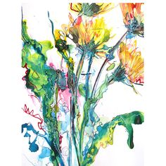 abstract dandelion in colored ink on paper on Etsy, $100.00
