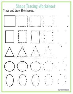 Shape Worksheets For Preschool, Shape Tracing Worksheets, Shapes Worksheet Kindergarten, Tracing Shapes, Free Preschool, Preschool Shapes, Toddler Worksheets, Preschool Kindergarten, Preschool Activity Sheets