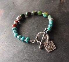 Artisan Jewelry, Beaded Bracelet, Handcrafted Artisan Silver, Pandora Snake Slider Charm, Urban Chic Jewelry, Layering Bracelet, Rustic by DianesAddiction on Etsy
