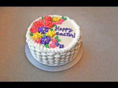 How to Make a Basket Weave Cake with a Braid Border and Buttercream Flowers