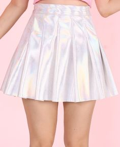 holographic pleated skirt (short)