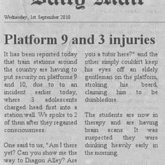 Platform 9 and 3 injuries. ...? That is  not right!  Ahahaha!