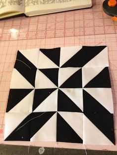knit 'n lit: Modern Half-Square Triangle Quilt-a-Long Block 14