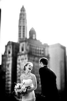 The joyful couple, photographed by Kevin Weinstein Photography | junebugweddings.com