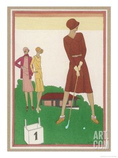 Ladies on a Golf Course Giclee Print by Berlinger at Art.com